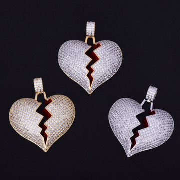 18k AAA True Micro Pave Gold .925 Silver Heart Breaker Flooded Ice Chain Pendant