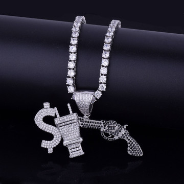 14k Gold Money Power Respect Iced Out Lab Diamond Hip Hop Pendant Chain