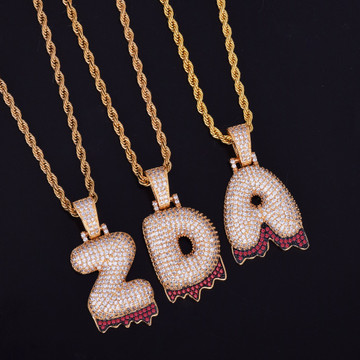 Iced Out Blood Drip Bling Bubble Graffiti Letters
