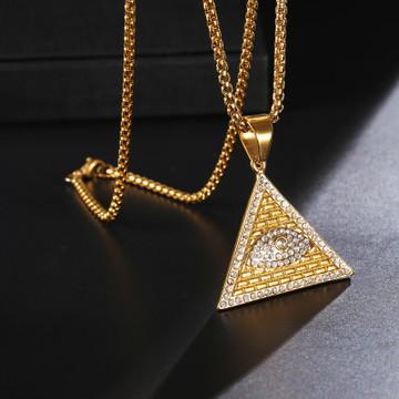 Masonic Illuminati All Seeing Eye 14k Gold Pyramid Pendant
