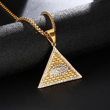 Iced Out Masonic Illuminati Eye 14k Gold Pyramid Pendant