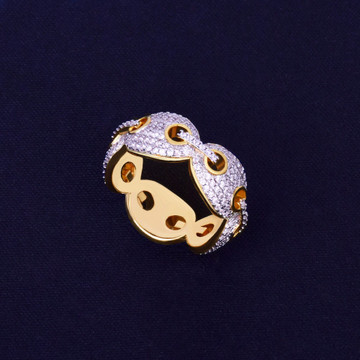 18k Gold 12mm AAA True Micro Pave  Marine G-Link Flood Ice Hip Hop Ring