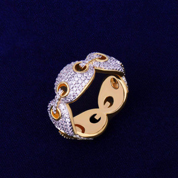 Gucci Link 18k Gold Flooded Iced Rings