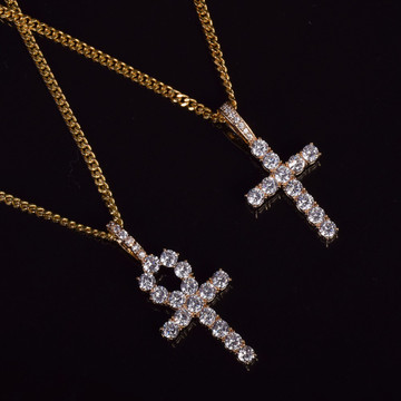 Iced Out Key To Life Ankh Cross 14k Gold Silver African Egyptian Pendant Chain Necklace Set