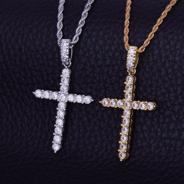 18k Gold .925 Silver AAA Micro Pave Classic Ancient Cross Bling Pendant Chain Necklace