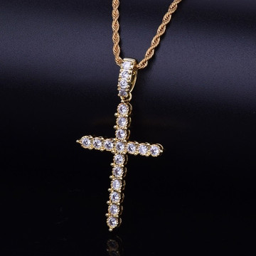 18k Gold Classic Ancient Hip Hop Cross Chain Necklace