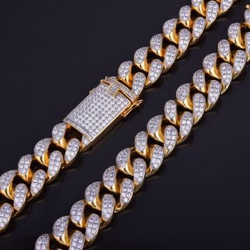 24k Gold Double Color Flooded Ice Cuban Link Chain Necklace