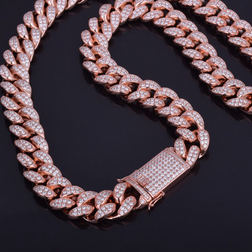 Rose Gold Bust Down Ice 20mm Cuban Link Chain