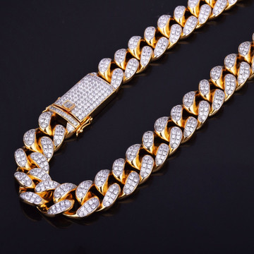 24k Gold AAA True Micro Pave Cuban Link Chain Necklace