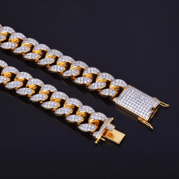 24k Gold .925 Silver Rose Gold 20mm Heavy Flooded Ice Cuban Link Chain Necklace