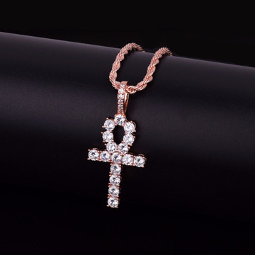 Iced Out Key Of Life African Egyptian Ankh Cross Pendant Chain Necklace