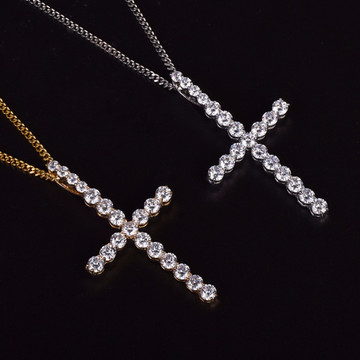 22k Gold .925 Silver AAA Micro Pave Bling Bling All Ice Cross Chain Pendant