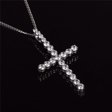 .925 Sterling Silver All Ice Hip Hop Cross Pendant Chain Neckalce