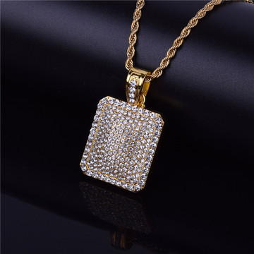 Mens Full Iced Out 14k Gold Silver Square Dog Tag Hip Hop Chain Pendant
