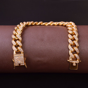 14MM Mens Curb Cuban Link Hip Hop Jewelry Gold Silver Thick Heavy Iced Out Bracelet