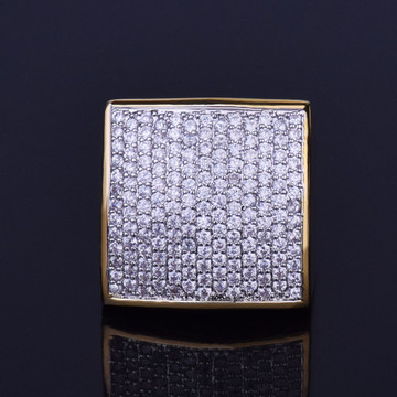 AAA True Micro Pave Flooded Ice Squared 18k Gold .925 Silver Big Boy Bling Ring