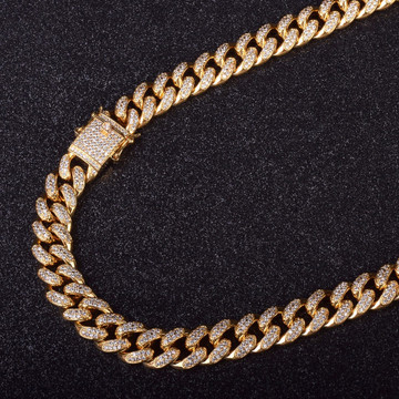 12mm Iced Out AAA Lab Diamond Cuban Link Hip Hop Bling Box Lock Chain Necklace