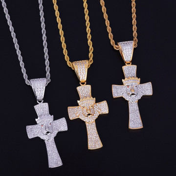 Mens Iced Out Lion Of Judah Lab Diamond Micro Pave Cross Pendant Chain Necklace