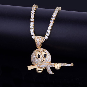 18k Gold Ak47 Wielding Angry Emoji Chain Necklace