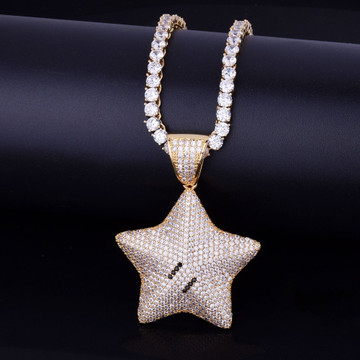 18k Gold Mario Power Star AAA Micro Pave Pendant
