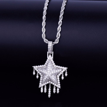 Drip Drop 14k Gold Silver Super Star Bling Bling Pendant Chain Necklace