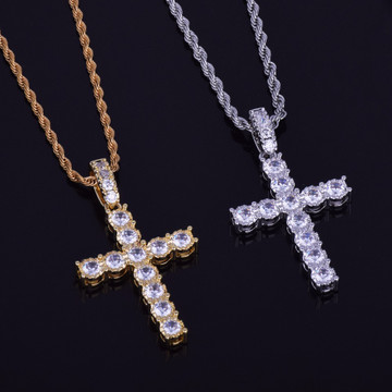 Lab Diamond AAA Micro Pave Iced Out 14k Gold Silver Cross Pendant Chain Necklace