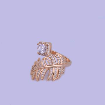 Princess Cut Open Lab Diamond 14k Gold Silver Luxury Leaf Ring