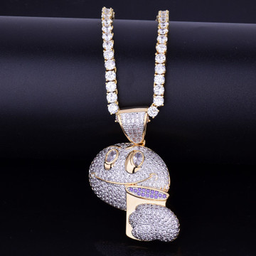 Lab Diamond Drunk Lean Emoji Holding Purple Cup Iced Out Pendant Chain Necklace