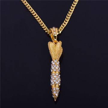 Men's Hip Hop 14k Gold Lab Diamond Iced Out Missile Pendant Chain Necklace