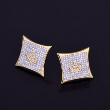 Iced Out Square Masonic Lab Diamond Stud 14k Gold Silver Bling Earrings