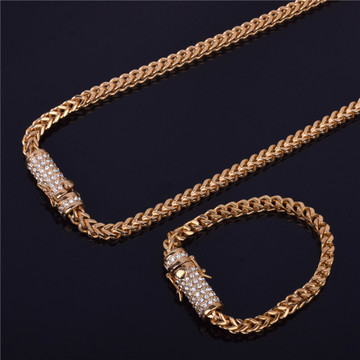 Hip Hop Stainless Steel Franco Cuban Box Link Lab Diamond Chain Necklace Bracelet Set