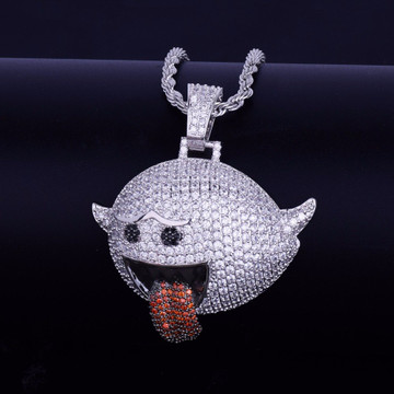 Flying Ghost Boo Diddley Hip Hop Mario Ghost Hip Hop Micro Pave Chain Pendant Necklace