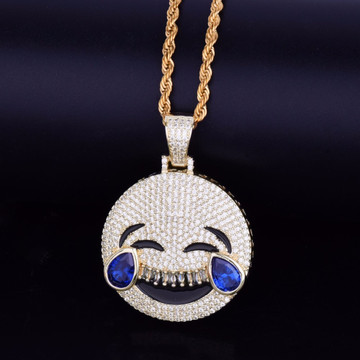 14k Gold Silver Iced Out Laugh Cry Lab Diamond Emoji Pendant Hip Hop Chain Necklace