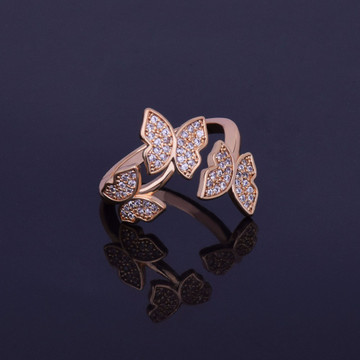 Ladies 14k Gold Silver Lab Diamond Butterfly Ring