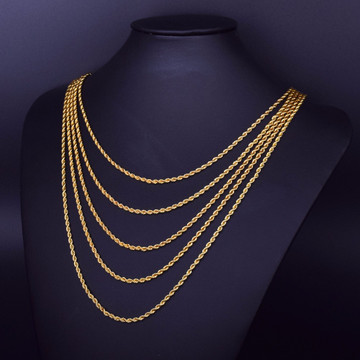 30 Inch 3mm 6mm 14k Gold Rope Hip Hop Chain Necklace