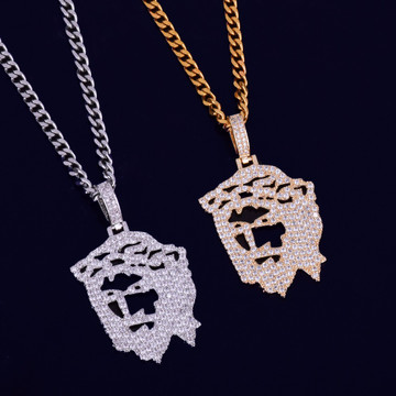 Iced Out Spiritual Cut Art Deco Out 14k Gold Silver Jesus Head Lab Diamond Pendant Chain Necklace