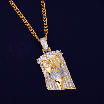 14k Gold Iced Out Salvation Jesus Head Piece Pendant Lab Diamond Chain Necklace