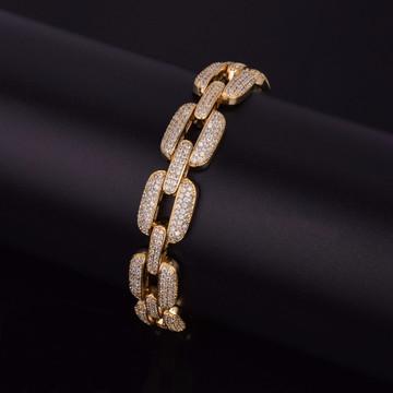 AAA Lab Diamond Micro Pave O Link Chain Bracelet