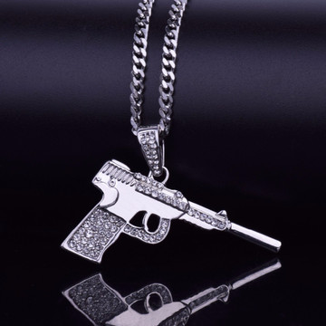 Hip Hop Old School Luger Pistol Gun Bling Pendant Chain Necklace 14k Gold Silver