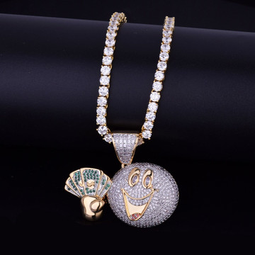 Lab Diamond Hip Hop Cash Money Man Emoji Face Iced Out Pendant Chain Necklace