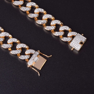 14mm 14k Gold Silver Iced Out AAA Lab Diamond Micro Pave Cuban Link Chain Bracelet