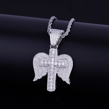 Iced Out Religious Cross Angel Wings Necklace Pendant Chain Gold Silver Hip Hop Jewelry