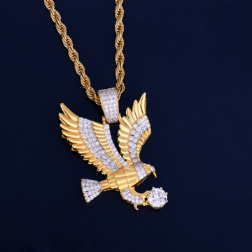 Mens Iced Out Lab Diamond 14k Gold Soaring Eagle Bling Bling Chain Pendant