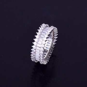 Iced Out  AAA 14k Gold Silver Lab Diamond Micro Pave Baguette Hip Hop Rings