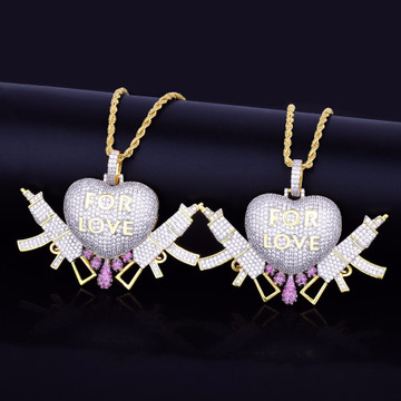 For Love Lab Diamond 3D Heart Drip Semi Auto Gun Hip Hop Pendant