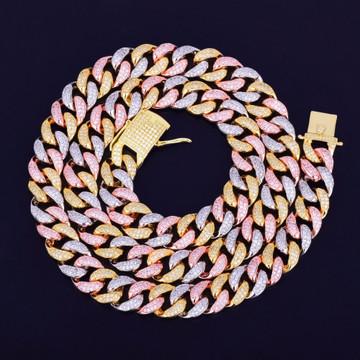 12mm Mixed Color Cuban Link Hip Hop Chain
