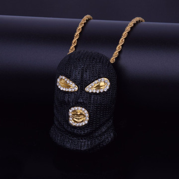 Micro Pave 14k Gold Silver Masked Goon Pendant Chain Necklace
