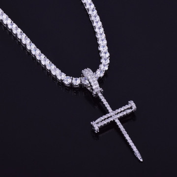 Jesus Nail 14k Gold Silver Micro Pave Cross Pendant With 4mm Tennis Chain Necklace