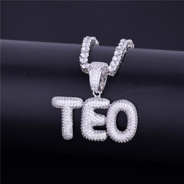 Lab Diamond Micro Pave Custom Name Small Bubble Letters Pendant Chain Necklace