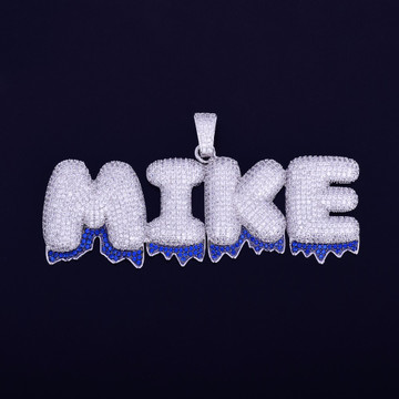 Iced Out Lab Diamond Custom Name Blue Drip Bubble Letters